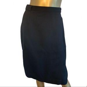 Vintage Burberrys Black Wool Knee Length Skirt 10